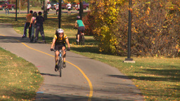 bicycle path cycle roller blades Stock Video Footage