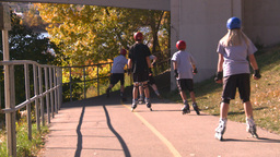 HD2008-10-2-61 bicycle path roller blades Stock Video Footage