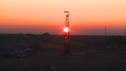 HD2008-10-3-4 sunrise oil rig Z Stock Video Footage