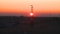 HD2008-10-3-4 sunrise oil rig Z Stock Video Footage