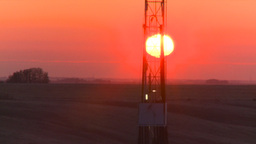 HD2008-10-3-6 sunrise oil rig Stock Video Footage