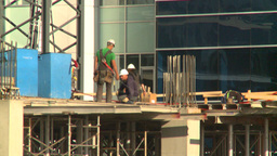 HD2008-10-4-17 construction workers on bdg Stock Video Footage