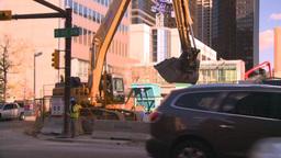 HD2008-10-4-27 construction site backhoe dumptruck Stock Video Footage