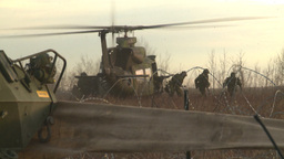 HD2008-10-8-2 Heli soldiers disembarking Stock Video Footage