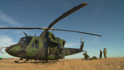 HD2008-10-11-8 heli parked on ground Stock Video Footage