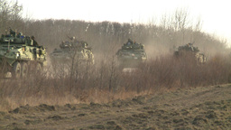 HD2008-10-16-4 LAV3 in the distance going thru checkpoint Stock Video Footage