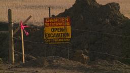 HD2008-10-17-11 pipeline const open excav sign Stock Video Footage