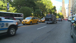 HD2008-9-1-6 NYC street scene police cars VIP Stock Video Footage