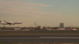 HD2008-9-1-12 int aircraft look at runway aircraft lands thru frame Footage