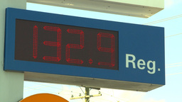 HD2008-9-1-42 gas stn 133 price Stock Video Footage