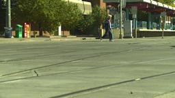 HD2008-9-3-12 traffic crossing LRT tracks Stock Video Footage