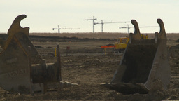 HD2009-4-1-26 construction cranes and buckets Stock Video Footage