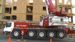 HD2009-4-1-32 condo construction site 120ton crane Footage
