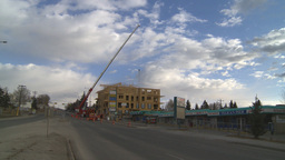 HD2009-4-1-34 condo construction site 120ton crane Footage