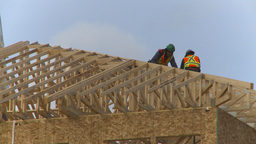 HD2009-4-1-34 condo construction site 120ton crane Stock Video Footage