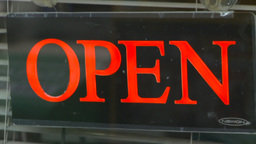 HD2009-4-2-2 open with closed neon signs sequence Stock Video Footage