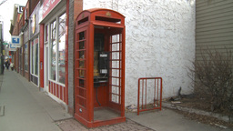 HD2009-4-2-10 telephone booth Stock Video Footage