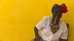 HD2009-4-4-17b Havana old woman and cigar Footage