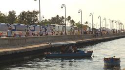 HD2009-4-5-35 Havana harbor boat and busses Stock Video Footage