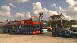 HD2009-4-5-37 Havana orange taxi and bus Footage
