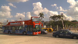 HD2009-4-5-37 Havana orange taxi and bus Stock Video Footage