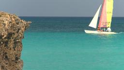HD2009-4-6-17 Cuba beach sailboat Stock Video Footage