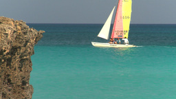 HD2009-4-6-17 Cuba beach sailboat Footage