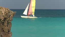 HD2009-4-6-17 Cuba beach sailboat Stock Video Footage