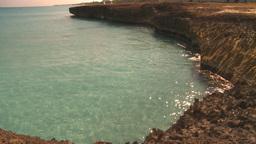 HD2009-4-6-19 Cuba beach green water rocky Stock Video Footage