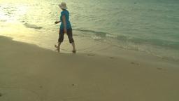HD2009-4-6-56 Cuba beach sunset woman on beach Stock Video Footage