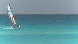 HD2009-4-7-24 Cuba beach sailboat Stock Video Footage