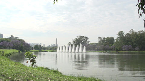 001 Sao Paulo , Ibirapuera park , waterfountain Footage