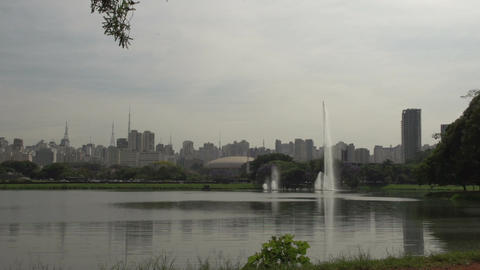 006 Sao Paulo , Ibirapuera park , waterfountain ,  Footage