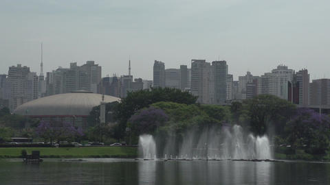 010 Sao Paulo , Ibirapuera park , waterfountain ,  Footage