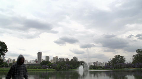 015 Sao Paulo , Ibirapuera park , waterfountain , Stock Video Footage