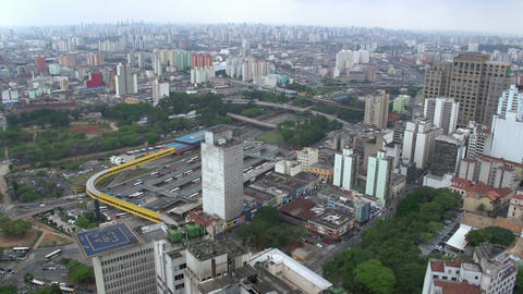 045 Sao Paulo , skyline , traffic , busstation fro Footage