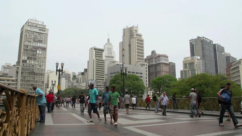 050 Sao Paulo , skyline , people on the street , t Footage
