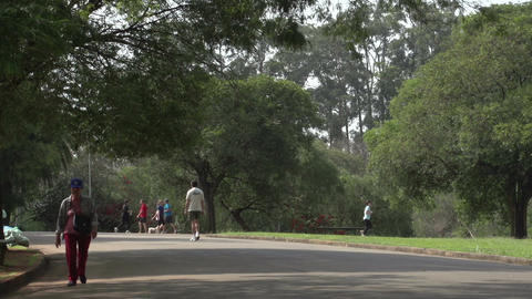 052 Sao Paulo , Ibirapuera park , runners , bicycl Footage