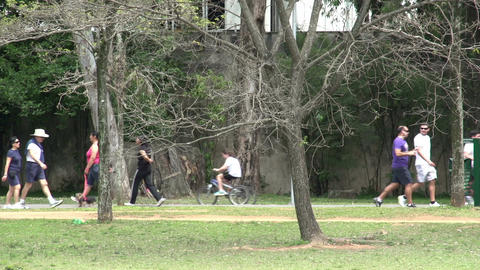 058 Sao Paulo , Ibirapuera park , runners , bicycl Stock Video Footage