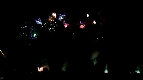 Colorful Firework With Human Silhouettes stock footage