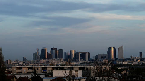 Timelapse Of Business Center - La Defense In Franc stock footage