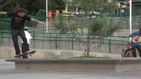 091 Sao Paulo , skateboarding in park , slowmotion Stock Video Footage
