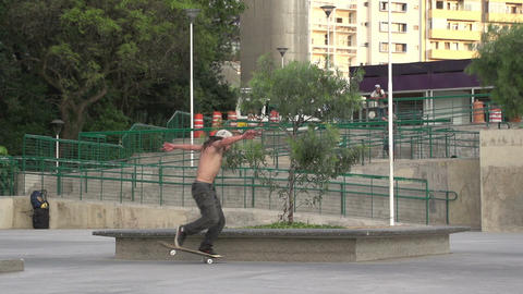 093 Sao Paulo , skateboarding in park , slowmotion Stock Video Footage
