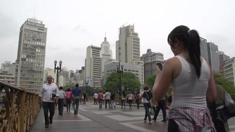 107 Sao Paulo , skyline , people on the street Footage