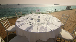 Luxurious Dinner Table Outdoors Summer Resort Sea  stock footage