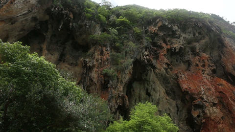 cliffs with caves and trees Footage