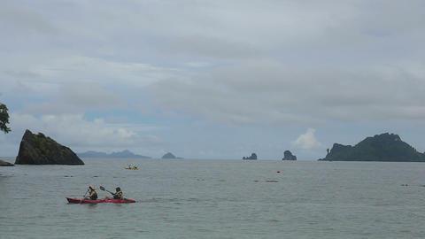 people floating in a kayak azure sea Footage