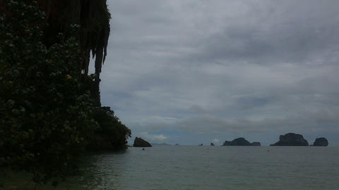 island with rocks in the azure sea beach Footage