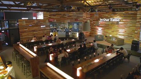 Pier 2 Art Center - trendy 2 level coffee shop Stock Video Footage