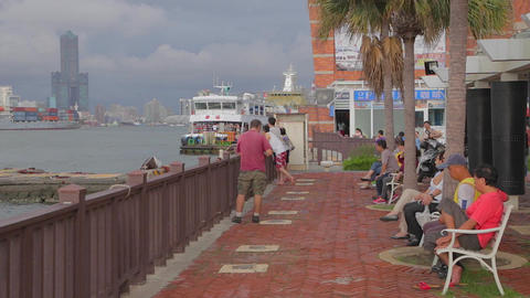 view of Kaohsiung from Cijin Island Stock Video Footage